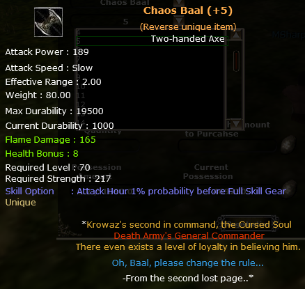 +5 Rev.  Chaos Baal  (Unique item)