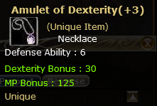 +3 Amulet of Dexterity  (Unique item)