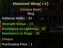Diamond Ring+3  (Unique item)