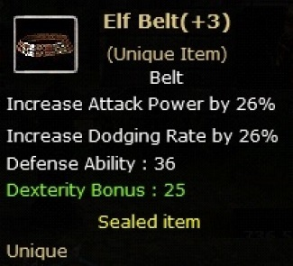 Elf Belt +3  (Unique item)