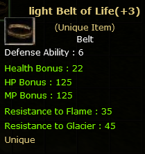 Light Belt of Life  (Unique item)
