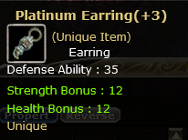 Platinum Earring+3 Dual  (Unique item)