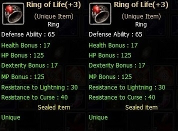 Dual  Ring of Life  (Unique item)